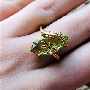 Yellow Gold Emerald Sterling Silver S925 Ring